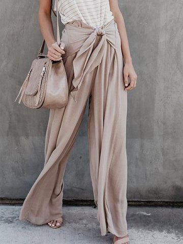 Khaki High Waist Chic Women Wide Leg Pants