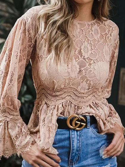 Pink Flare Sleeve Chic Women Lace Blouse