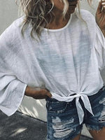 White Cotton Tie Front Flare Sleeve Chic Women Blouse