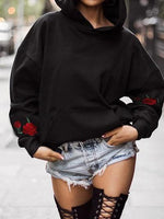 Black Cotton Floral Embroidery Long Sleeve Chic Women Hoodie