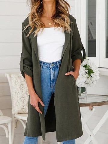 Army Green Cotton Open Front Split Side Chic Women Longline Kimono