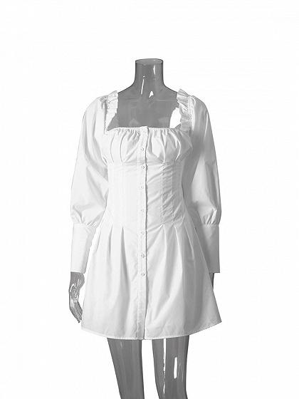 White Cotton Frill Trim Puff Sleeve Chic Women Mini Dress