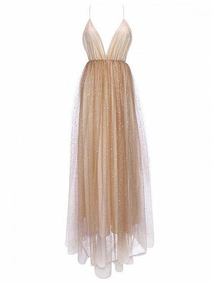 Golden Plunge Sequin Detail Open Back Chic Women Mesh Cami Maxi Dress