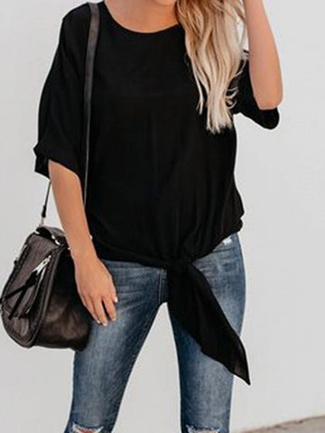 Black Cotton Tie Detail Chic Women T-shirt