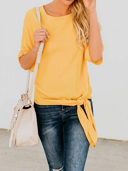 Yellow Cotton Tie Detail Chic Women T-shirt