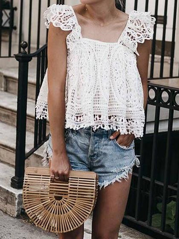 White Ruffle Trim Sleeveless Chic Women Lace Blouse