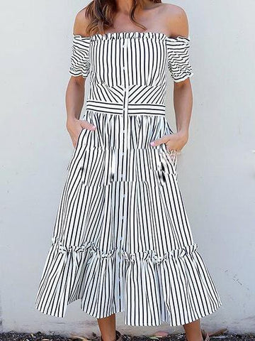 White Stripe Off Shoulder Ruffle Hem Chic Women Maxi Dress