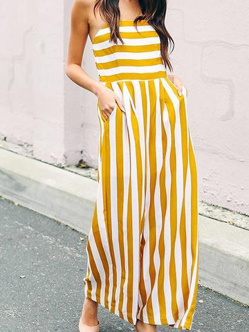 Yellow Stripe Bandeau Ruched Back Chic Women Jumpsuit