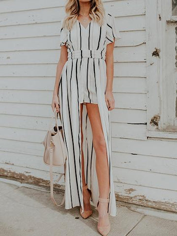 White Stripe V-neck Cut Out Back Chic Women Culotte