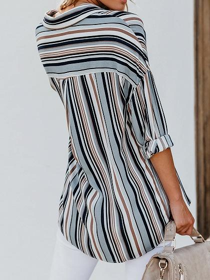 Blue Stripe Chiffon V-neck Long Sleeve Chic Women Blouse