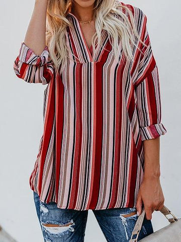 Red Stripe Chiffon V-neck Long Sleeve Chic Women Blouse