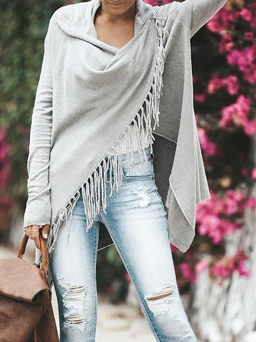 Gray Open Front Tassel Trim Long Sleeve Chic Women Knit Cardigan