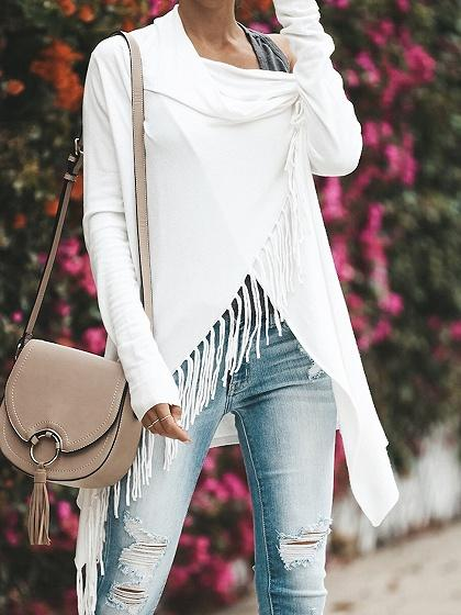 White Open Front Tassel Trim Long Sleeve Chic Women Knit Cardigan