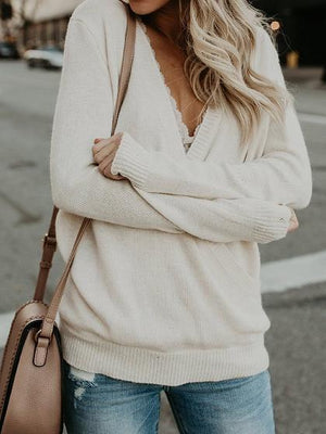White Plunge Long Sleeve Chic Women Knit Sweater