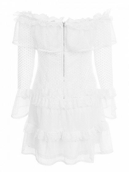 White Off Shoulder Ruffle Hem Flare Sleeve Chic Women Lace Mini Dress