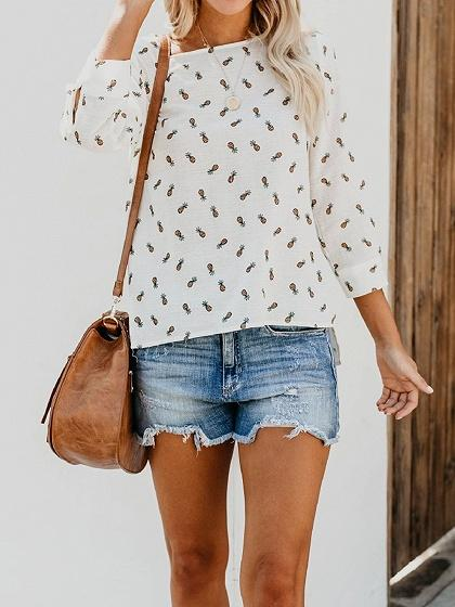 White Pineapple Print Dipped Hem Long Sleeve Chic Women Blouse