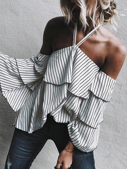 White Stripe Halter Layered Flare Sleeve Chic Women Blouse
