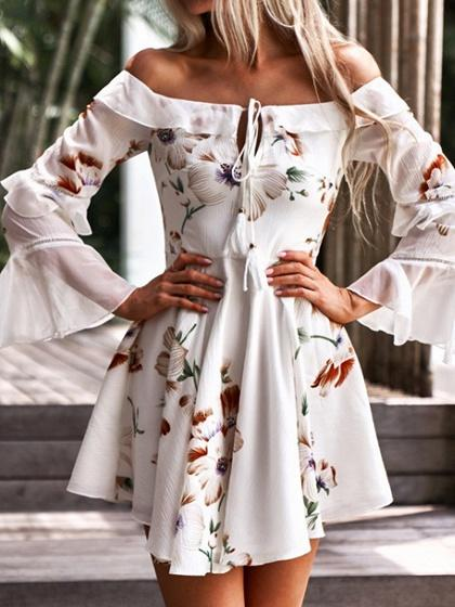 White Off Shoulder Floral Print Flare Sleeve Chic Women Mini Dress