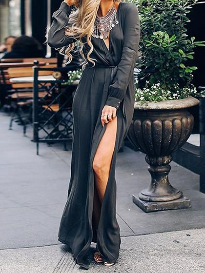 Dark Gray Cotton Plunge Tie Waist Long Sleeve Chic Women Maxi Dress