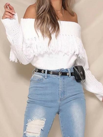 White Off Shoulder Tassel Trim Long Sleeve Chic Women Knit Sweater