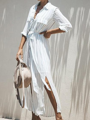 White Stripe V-neck Tie Waist Long Sleeve Chic Women Maxi Dress