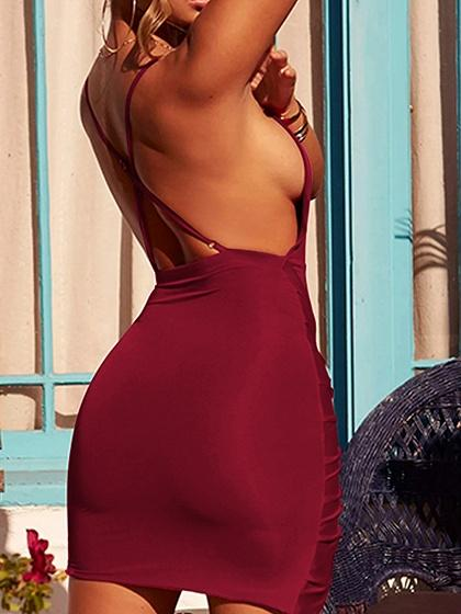 Burgundy V-neck Open Back Chic Women Bodycon Cami Mini Dress