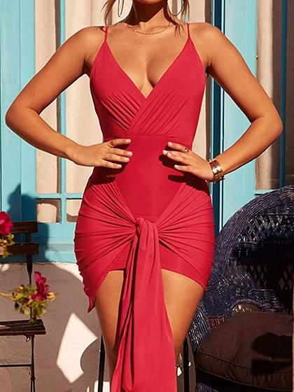 Red V-neck Open Back Chic Women Bodycon Cami Mini Dress