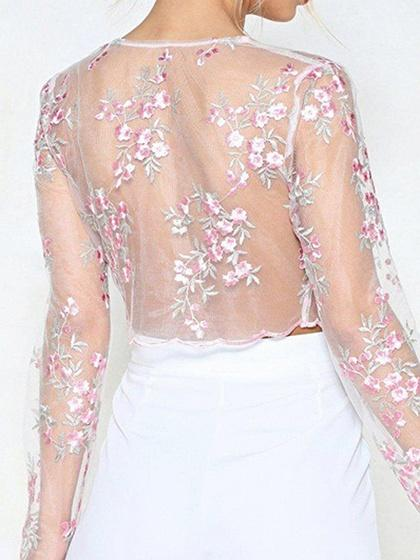 Pink Plunge Floral Embroidery Chic Women Sheer Mesh Crop Blouse