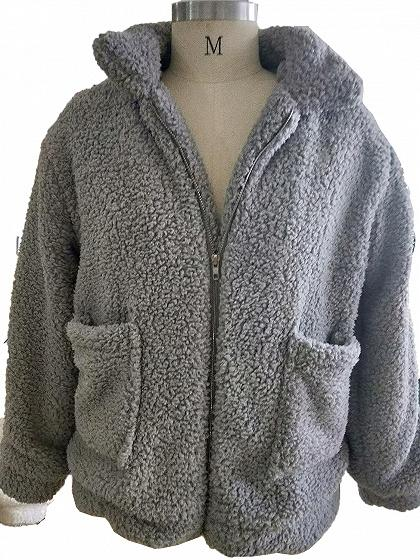 Gray Faux Fur Long Sleeve Chic Women Fluffy Coat