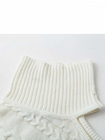 White High Neck Asymmetric Sleeve Chic Women Knit Sweater