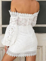 White Off Shoulder Puff Sleeve Chic Women Lace Mini Dress
