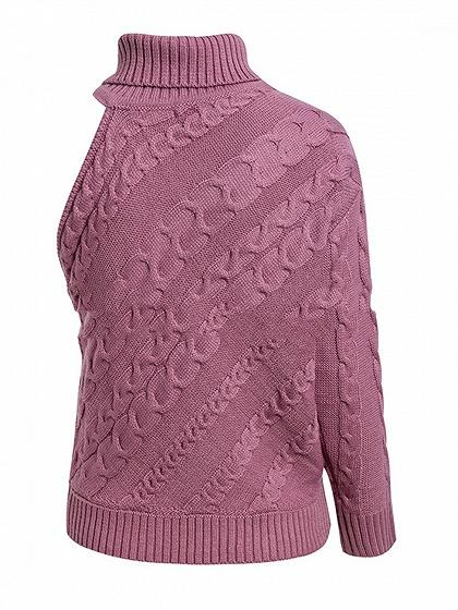 Pink High Neck Asymmetric Sleeve Chic Women Knit Sweater