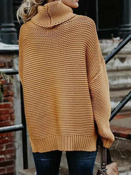 Yellow High Neck Long Sleeve Chic Women Knit Sweater