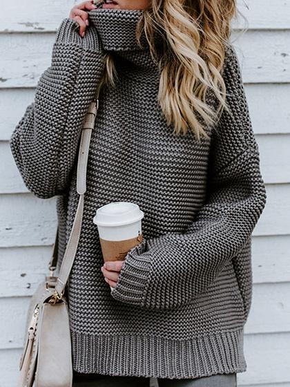 Gray High Neck Long Sleeve Chic Women Knit Sweater