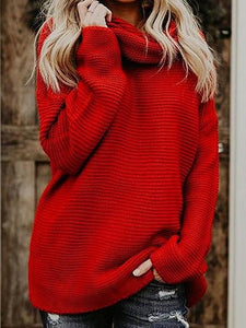 Red High Neck Long Sleeve Chic Women Knit Sweater