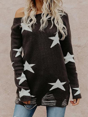 Black Off Shoulder Star Print Long Sleeve Chic Women Knit Sweater