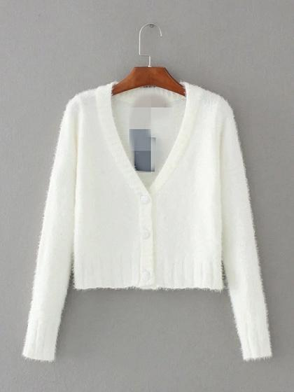 White V-neck Button Placket Front Long Sleeve Chic Women Knit Sweater