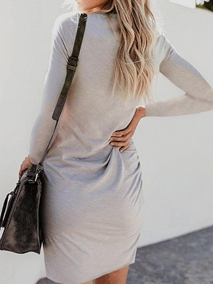 Gray Cotton Long Sleeve Chic Women Bodycon Mini Dress