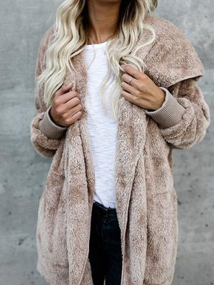 Khaki Faux Fur Long Sleeve Chic Women Fluffy Hoodie Coat
