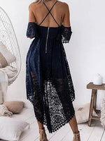 Blue Fishtail Hem Open Back Chic Women Lace Cami Hi-Lo Dress