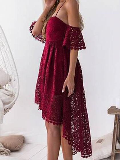 Burgundy Fishtail Hem Open Back Chic Women Lace Cami Hi-Lo Dress