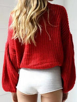 Red Puff Sleeve Chic Women Knit Sweater