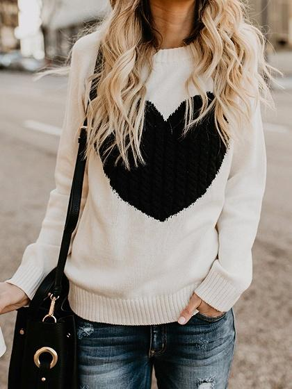Beige Heart Detail Long Sleeve Chic Women Knit Sweater