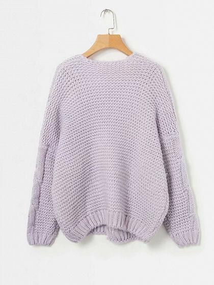 Purple Open Front Long Sleeve Chic Women Knit Cardigan