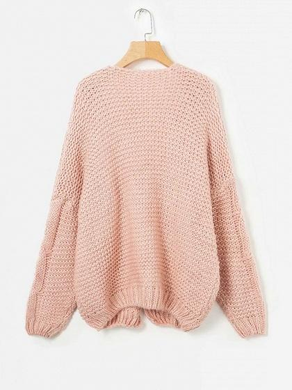 Pink Open Front Long Sleeve Chic Women Knit Cardigan