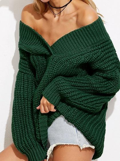 Green Cold Shoulder V-neck Long Sleeve Chic Women Knit Sweater