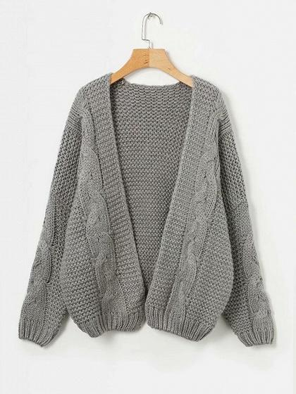 Gray Open Front Long Sleeve Chic Women Knit Cardigan