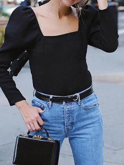 Black Square Neck Long Sleeve Chic Women Blouse