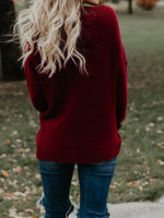 Burgundy V-neck Wrap Front Long Sleeve Knit Sweater