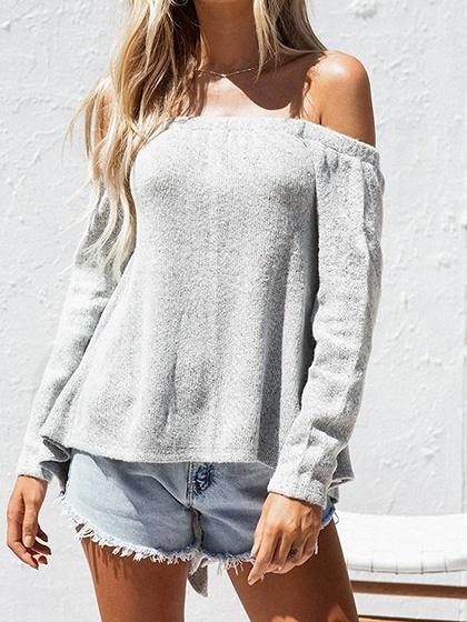 Gray Cotton Off Shoulder Open Back Long Sleeve Chic Women Blouse